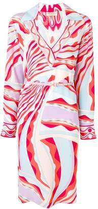 Emilio Pucci Burle Print Collared Silk Dress