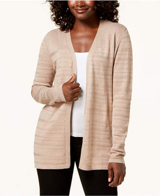 Karen Scott Open-Front Pointelle Knit Cardigan