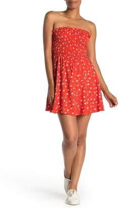 Love, Fire Floral Strapless Smocked Mini Dress