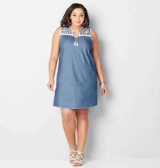 Avenue Embroidered Denim A-Line Dress