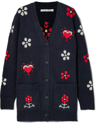Chinti and Parker Embroidered Wool Cardigan - Navy