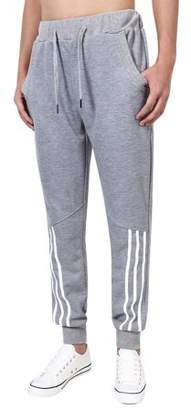 LinTimes Running Pants for Men Casual Long Pants With Elastic Waistband Color:Grey Size:L