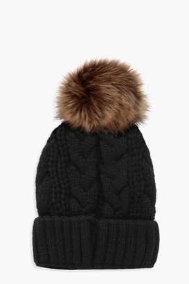 boohoo Eliza Cable Knit Faux Fur Pom Beanie
