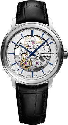 Raymond Weil Maestro Skeleton Automatic Leather Strap Watch, 39.5mm