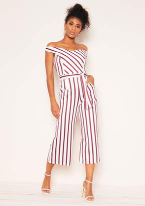 5afbe01e0509 Missy Empire Missyempire Ophelia White Wine Stripe Belted Culotte Jumpsuit