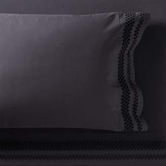 Pottery Barn Teen Diamond Eyelet Organic Sheet Set, Extra Pillowcases, Set of 2, Vintage Ebony