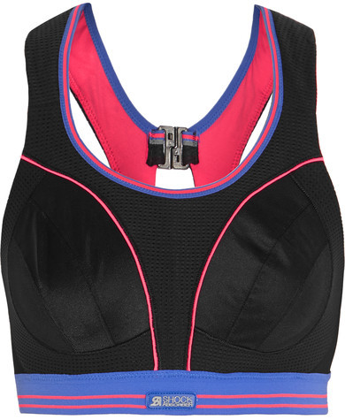 Shock Absorber - Ultimate Run Mesh And Stretch-jersey Sports Bra - Black