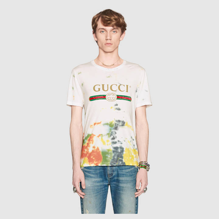 Cotton tie-dye t-shirt with Gucci logo 5
