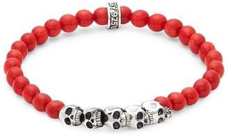 King Baby Studio Men's Coral Bead Skull Bracelet