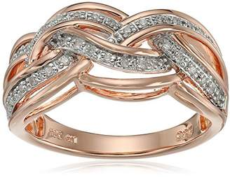 Gold Plated Sterling Silver Crisscross Diamond Ring (1/10cttw