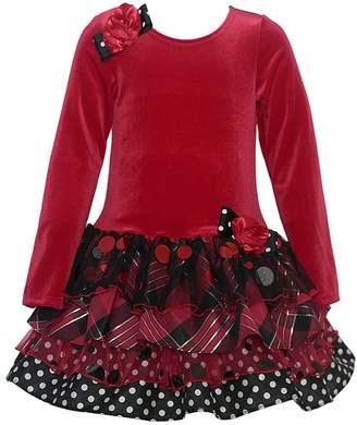 Bonnie Jean Little Girls Velour Floral Accent Tie Christmas Dress