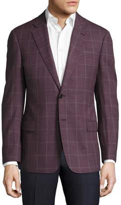 Armani Collezioni Windowpane Wool Two-Button Sport Coat, Pomegranate