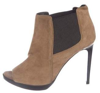 Burberry Suede Peep-Toe Boots