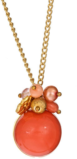 Janna Conner Designs Salmon Coral Bead Cluster Necklace