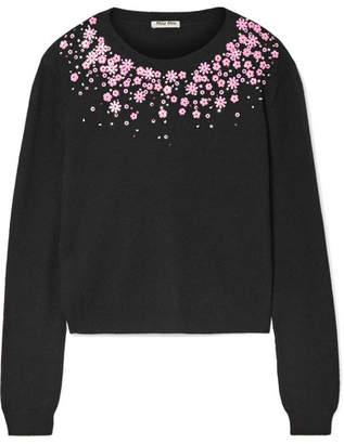 Miu Miu - Embellished Cashmere Sweater - Black