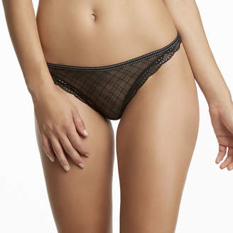 Jezebel Marni Diamond-Texture Lace-Trim Bikini Thong Panties