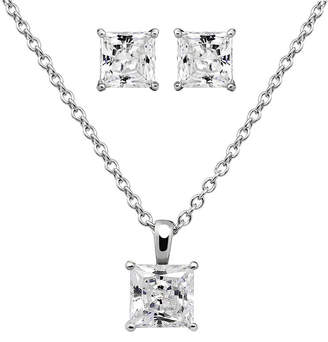 JCPenney FINE JEWELRY DiamonArt Cubic Zirconia Sterling Silver Princess-Cut Earring and Pendant Necklace Set