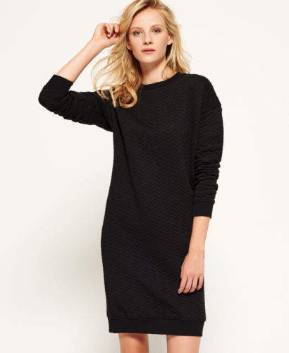 Neues Damen Gestepptes Nordic Kleid Schwarz