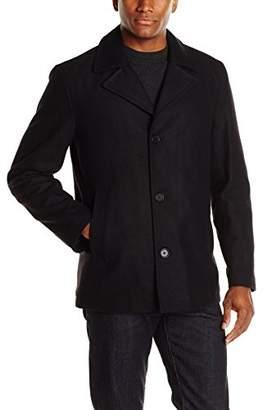 Perry Ellis Men's Wool-Blend Coat with Scarf