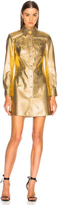 Calvin Klein Metallic Leather Western Shirt Dress