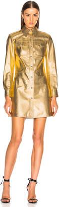 Calvin Klein Metallic Leather Western Shirt Dress in Gold | FWRD