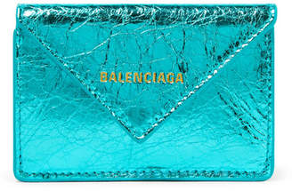 Balenciaga Paper Mini Printed Metallic Crinkled-leather Wallet - Turquoise