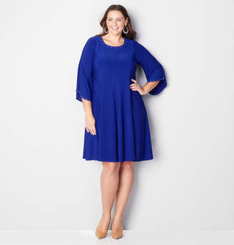 Avenue Studded Bell Sleeve Fit and Flare Dress