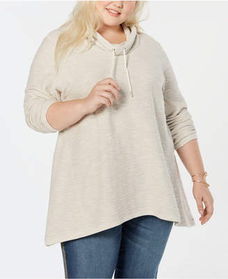 Style&Co. Style & Co Plus Size French Terry Funnel-Neck Top
