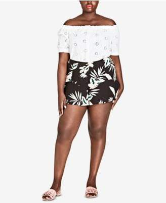 City Chic Trendy Plus Size Oahu Orchid Printed Shorts