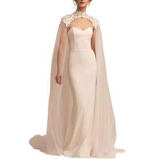Portsvy Lace Tulle Long High Neck Wedding Bridal Wraps Cape Cloak Veils