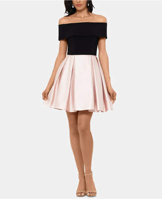 Betsy & Adam Off-The-Shoulder Fit & Flare Dress