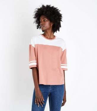 New Look Rust Colour Block Stripe Sleeve T-Shirt