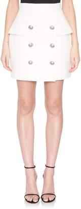 Balmain White 6-Button Mini Skirt