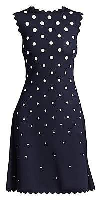e5850e0e6f33c9 Oscar de la Renta Women s Sleeveless Polka Dot Scallop-Trim A-Line Dress