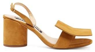 Jacquemus Les Rond Carre Suede Block Heel Sandals - Womens - Camel