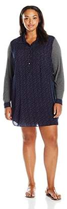 Single Dress Women's Plus Size Printed Shirtdress with Jersey Contrast $88.35 thestylecure.com