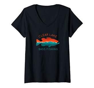 clear Womens Lake Bass Fishing V-Neck T-Shirt