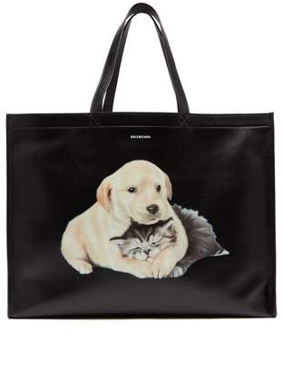 Balenciaga Puppy And Kitten Print Leather Tote - Mens - Black White