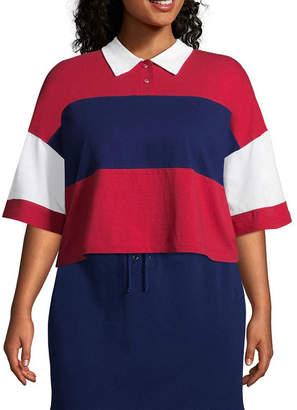 Flirtitude Short Sleeve Collar Neck T-Shirt-Womens Juniors Plus