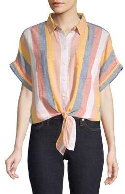 BeachLunchLounge Beach Lunch Lounge Striped Tie-Waist Shirt