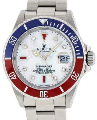 Rolex Submariner 16610 Stainless Steel with White Mother Of Pearl Diamond & Ruby 40mm Mens Watch