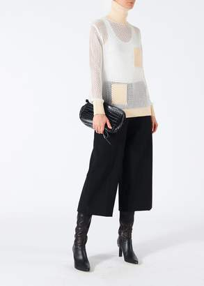 Tibi Anson Stretch Cropped Wide-Leg Pants with Ring Detail