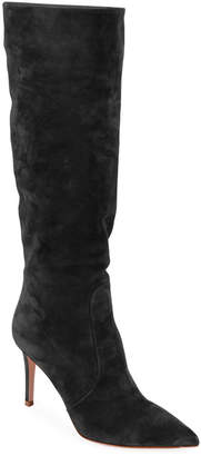Gianvito Rossi Slouchy Suede Knee Boots, Black