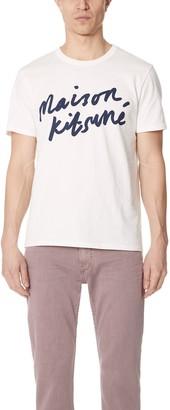 MAISON KITSUNÉ Short Sleeve Handwriting Tee Shirt