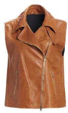 Brunello Cucinelli Leather Moto Vest