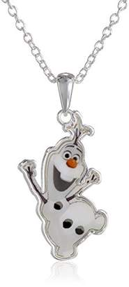 Disney Girls' Frozen -Plated Olaf Pendant Necklace