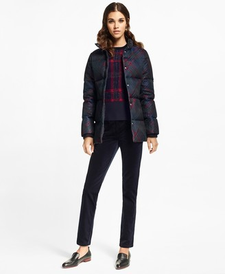 Brooks Brothers Tartan Jacquard Puffer Coat