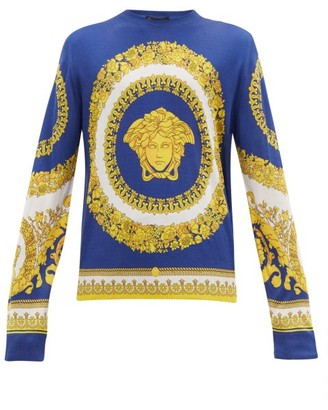 Versace Medusa Head Print Silk Sweater - Mens - Multi