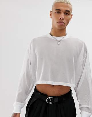 b62a48fa355a78 Asos Design DESIGN oversized cropped long sleeve t-shirt in white mesh