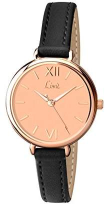 Limit Women's Quartz Watch with Gold Dial Analogue Display and Black Polyurethane Strap 6074.01